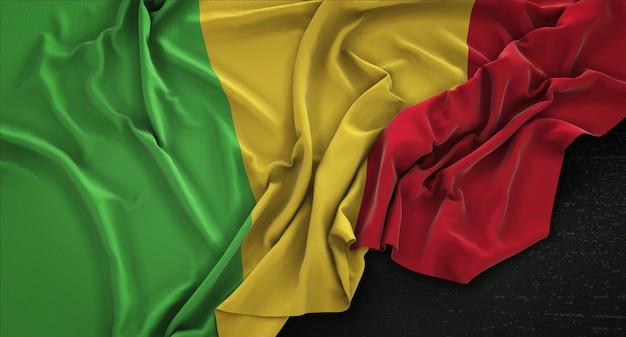 Мали флаг морщины на темном фоне 3d render