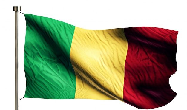 Мали национальный флаг изолированных 3d белый фон