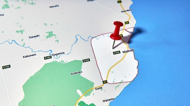 Malindi, kenya on a map showing a colored pin
