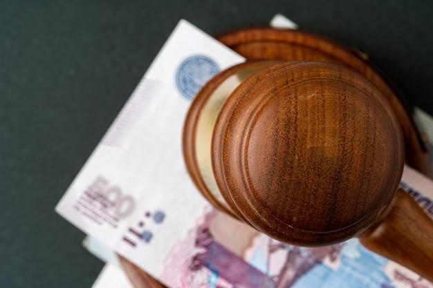 ロシアのルーブルは裁判官のmallでノートします。破損の概念