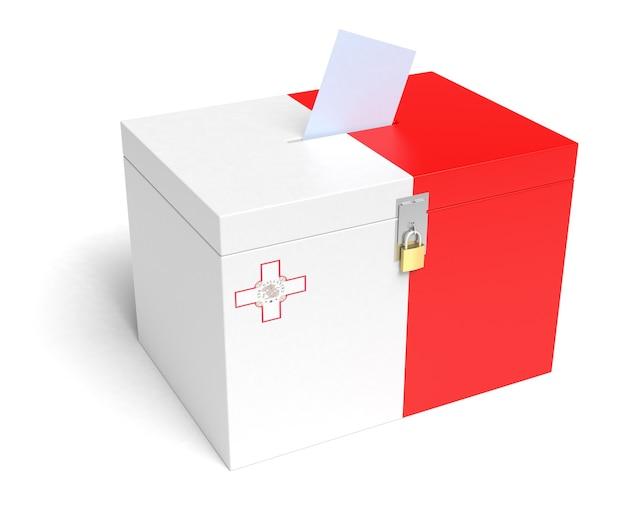 Malta ballot box with maltese flag. isolated on white background.