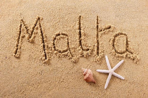 Malta beach writing sign travel concept