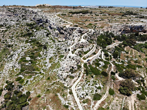 Malta island. mountain way to cliffs. view from above by drone.