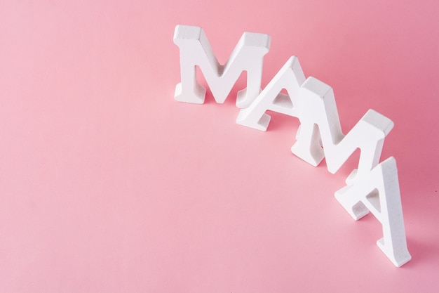 Mama word on pink mother's day concept copyspace