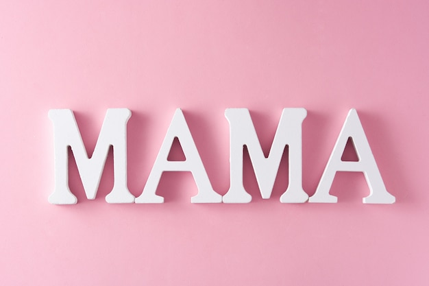 Mama word on pink mother's day concept