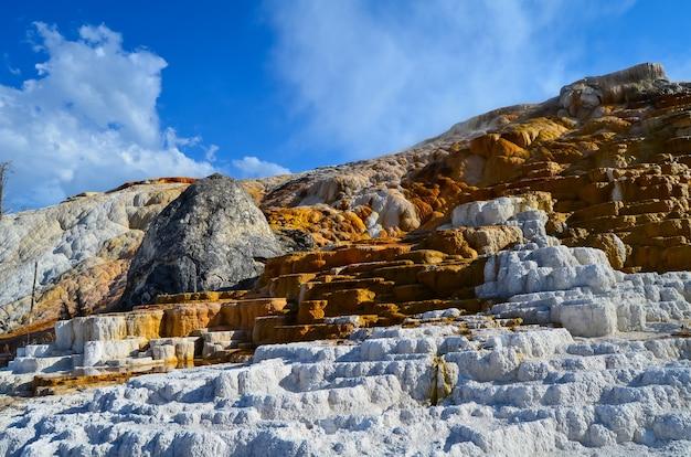 米国ワイオミング州イエローストーンのマンモス温泉