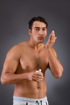 Man after taking shower in concept