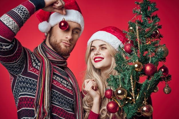 남자와 여자 크리스마스 장난감 휴일 함께 크리스마스