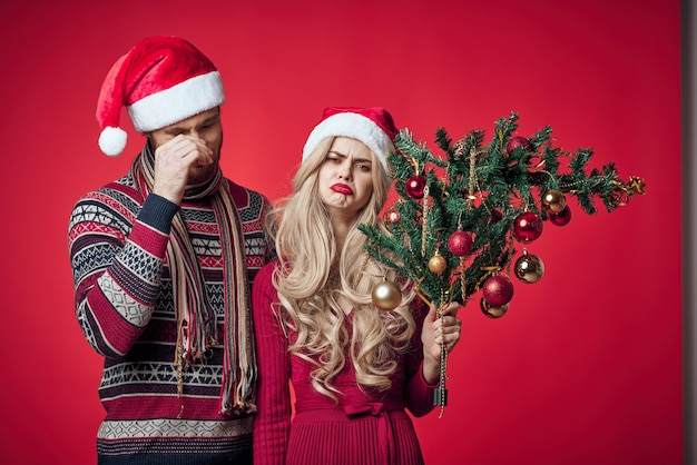 남자와 여자 크리스마스 트리 장난감 장식 휴일