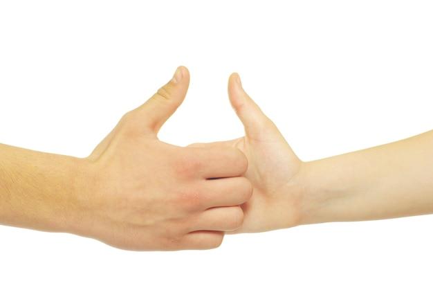 남자와 여자 손 흰색 배경에 고립