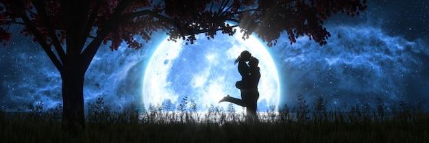 大きな満月、3dイラストの背景にキスする男と女