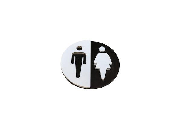Мужчина и женщина подписывают для ванной на изолированном фоне. черно-белый деревянный круг для унитаза.