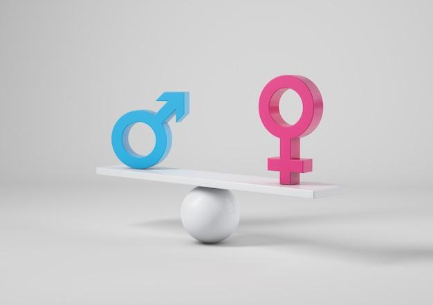 Мужчина и женщина подписывают весы, понятие гендерного равенства