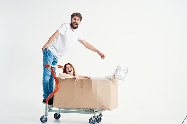 남자와 여자 슈퍼마켓 라이프 스타일 재미 밝은 배경