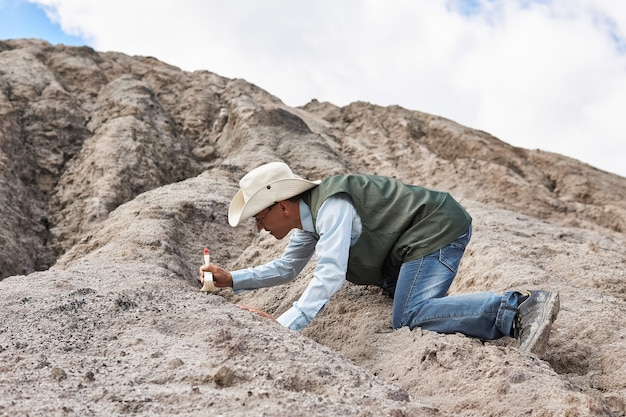 人間の考古学者または古生物学者が砂漠でブラシで発見物をきれいにします