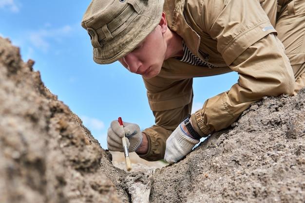 人間の考古学者または古生物学者は、地面にある化石の骨をブラシで優しく掃除します