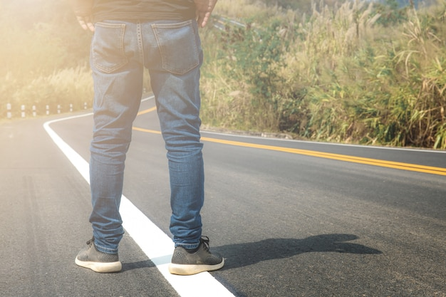 Man are standing on street.