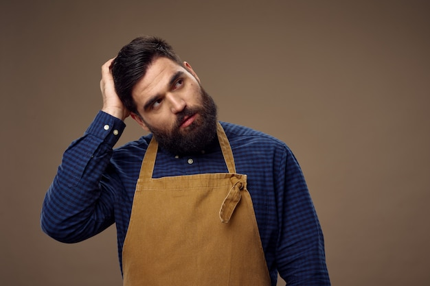 Мужские фартуки для парикмахерских professional service бежевый