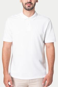 Man in basic white polo shirt apparel studio shoot