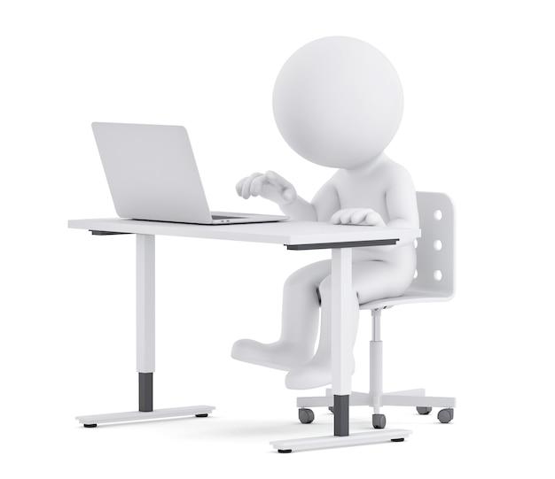노트북에서 작업 하는 책상 뒤에 남자입니다. 3d 그림입니다. 외딴. 클리핑 패스 포함