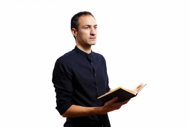 Man in black book