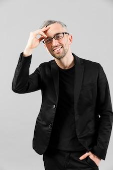 Man in black suit having a brilliant idea