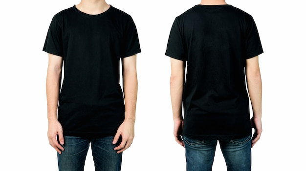 Man in blank black t-shirt, front and back views of mock up for design print.
