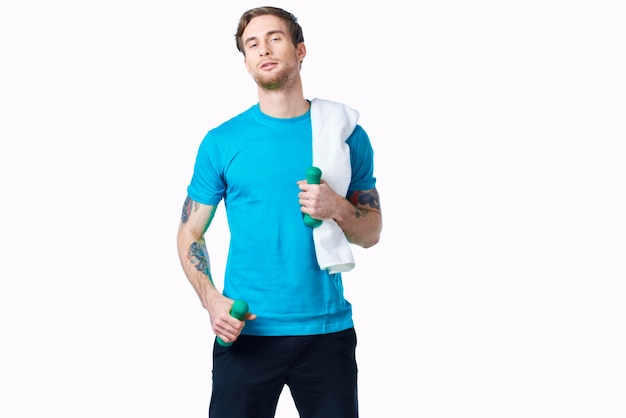 Man in blue t-shirt working out