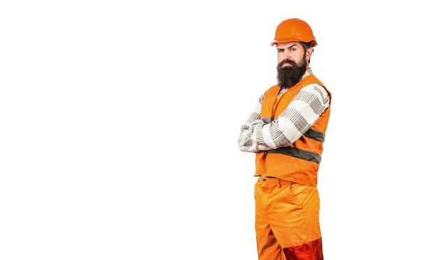 남자 건축업자, 산업. 건설 제복을 입은 노동자