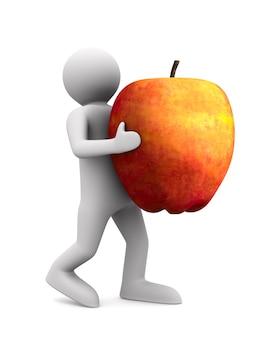 男は白いスペースに赤いリンゴを運びます。分離された3dイラスト