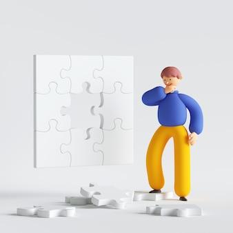 Человек мультипликационный персонаж думает, глядя на кусочки головоломки, пытаясь решить проблему