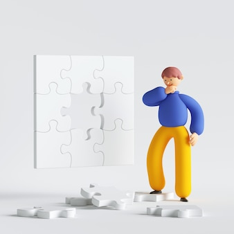 Man cartoon character thinking looking at puzzle pieces trying resolve the problem