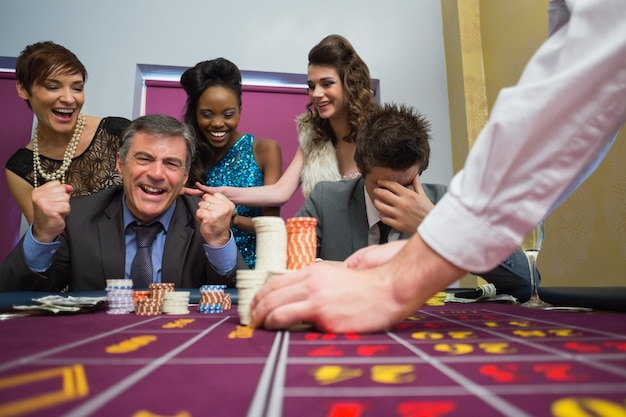 Man celebrating victory at roulette