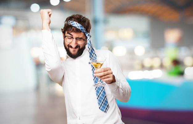 Man celebrating with a glass