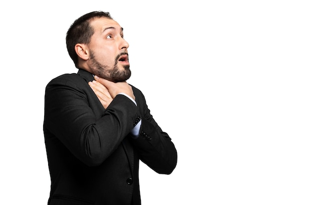 Man choking due to the lack of air isolated on white