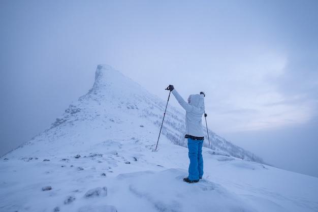 트레킹 폴 겨울에 우울한 눈 산의 정상에 서있는 남자 산악인