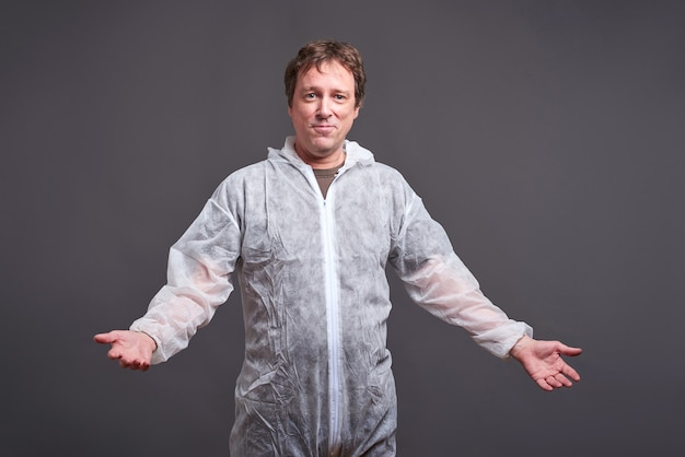 Man in a clothes protector suit