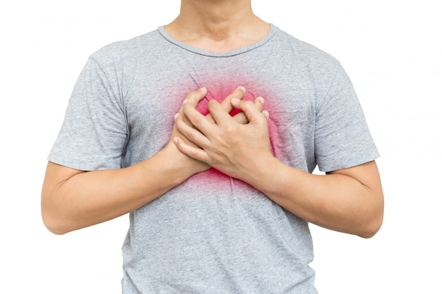 Man clutching his chest from pain in his chest isolated