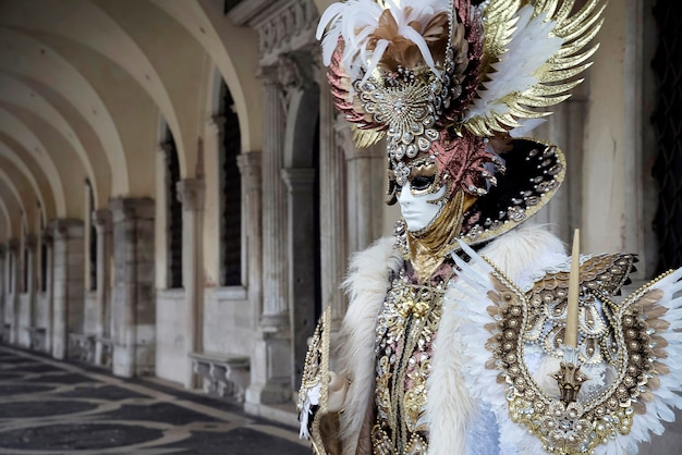 Man in costume of ancient roman soldier at carnival in venice