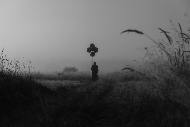 Man in a costume of a terrible monster in a cape with a hood stands in the fog in a field. costume concept for the halloween celebration