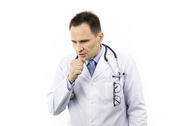 Man coughing into fist viral infection symptoms of disease. doctor got pneumonia