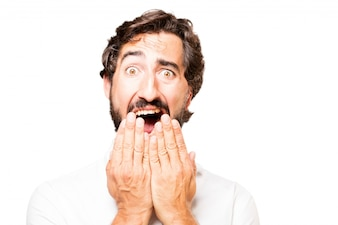 Man covering his mouth with hands