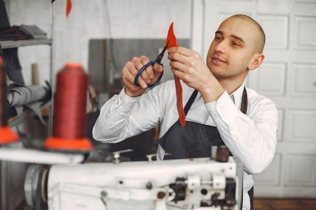 Man  creates leather ware