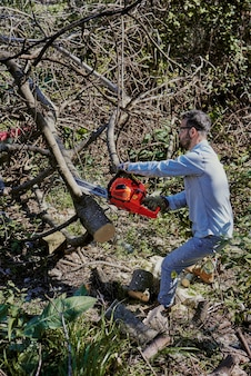 A man cuts down a fallen tree with a chainsaw.