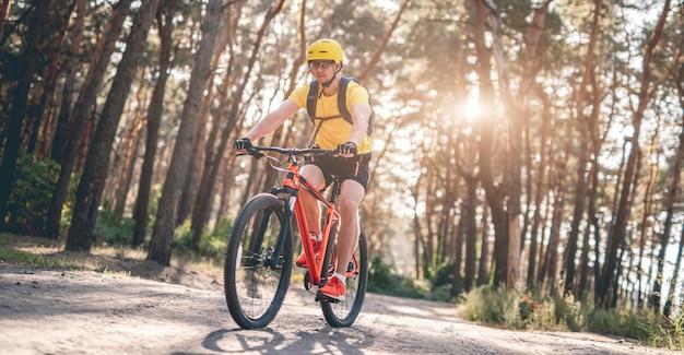 Человек, езда на велосипеде по дороге соснового леса в солнечных лучах