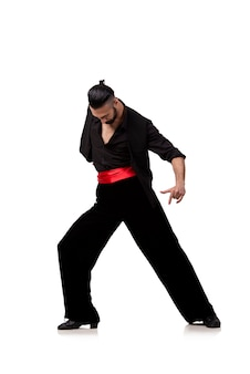 Man dancer dancing spanish dances isolated