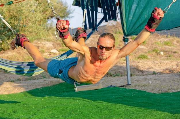 Man developing endurance and stretching core