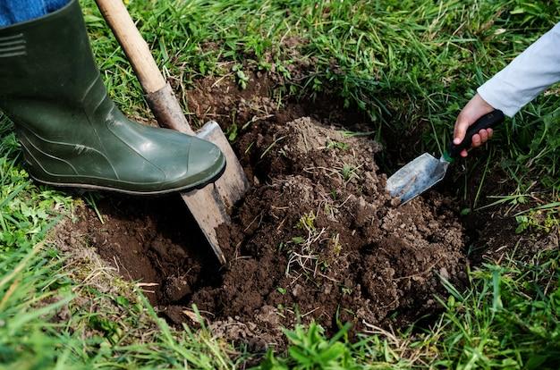 男は穴を掘る