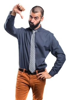 Man doing bad signal