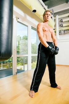 Man doing martial arts training